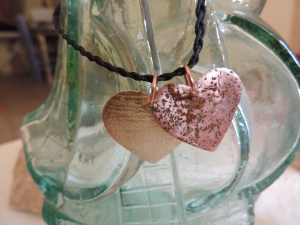Pendant, two hearts, bronze, copper